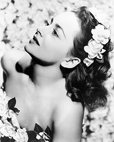 Primary image for Olivia de Havilland lovely pose with flowers in her hair bare shouldered 16x20 C