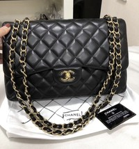 100% Authentic Chanel BLACK QUILTED LAMBSKIN JUMBO CLASSIC DOUBLE FLAP BAG GHW