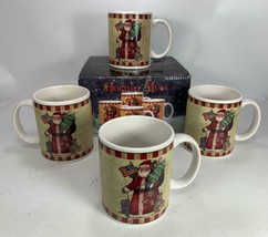 4 Certified International Susan Winget Holiday 12 OZ Coffee Mugs Cups SANTA - $18.80