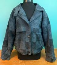 Vintage Lands' End Women's Wool Blend Lined Coat - Large, Blue & Black C... - $39.99