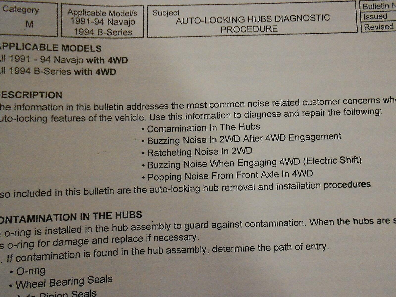 1991 92 93 1994 Mazda Navajo Service Bulletins Reparatur Shop Manuell OEM