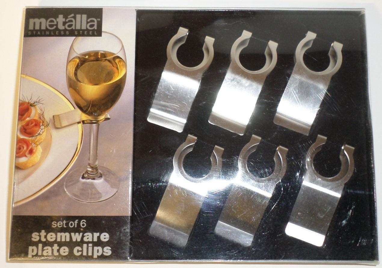Metalla Stainless Steel set 6 Stemware Plate Clips gift wine glass H7