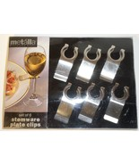 Metalla Stainless Steel set 6 Stemware Plate Clips gift wine glass H7 - $14.77