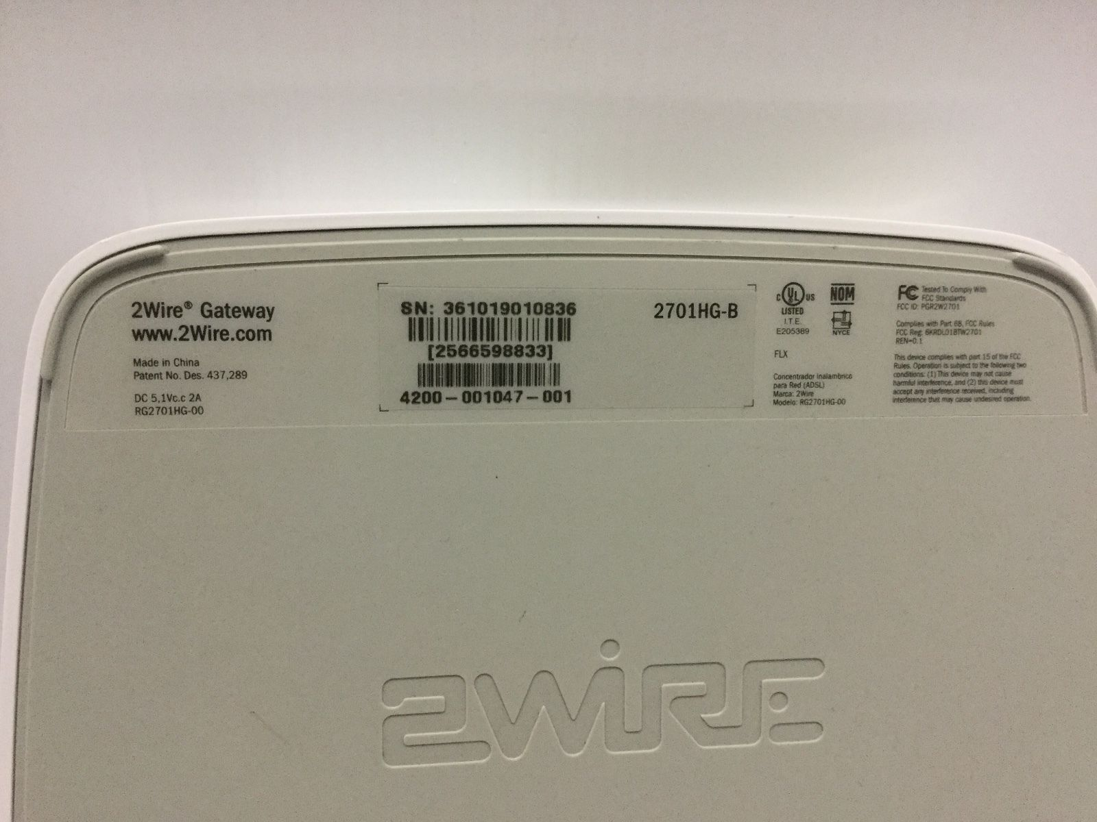 AT&T ATT 2701HG-B 2Wire Wireless Gateway DSL and 50 similar items