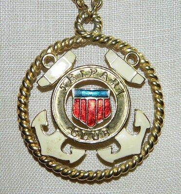 Primary image for VTG Gold Tone RARE TRIFARI TM Enamel Nautical CLUB Medallion Pendant Necklace