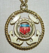 Vtg Gold Tone Rare Trifari Tm Enamel Nautical Club Medallion Pendant Necklace - $74.25