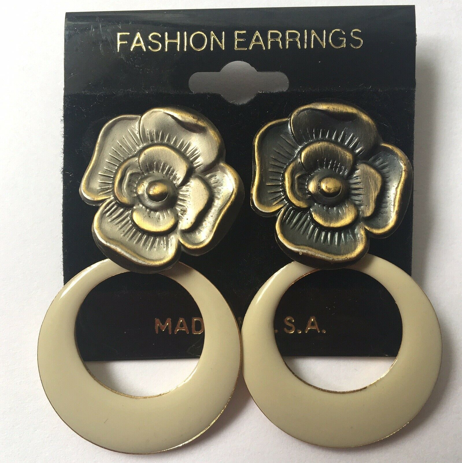 Primary image for Vintage Enamel Dangle Earrings Cream Floral Flower Drop Hoop NOS 90s