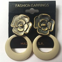 Vintage Enamel Dangle Earrings Cream Floral Flower Drop Hoop NOS 90s - $14.80