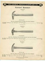 The George Tritch Hardware Co Farriers' Hammers Catalog Page 1902 - $17.82