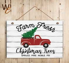 """Farm Fresh Christmas Trees Sign, 8"""" x 12"""" Christmas Sign, Red Truck Holiday Sign - $15.84"""