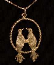 NICE 0714 I love you birds Silver pendant Gold Plated - $16.26