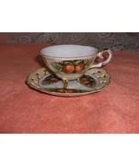 Vintage Antique China Victoria Ceramics Japan Collector Tea Cup Set Apples - $44.55