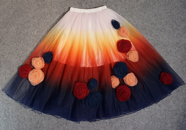 Women Flower Embroidery Long Tulle Skirt Outfit Custom Plus Size Princess Outfit image 4