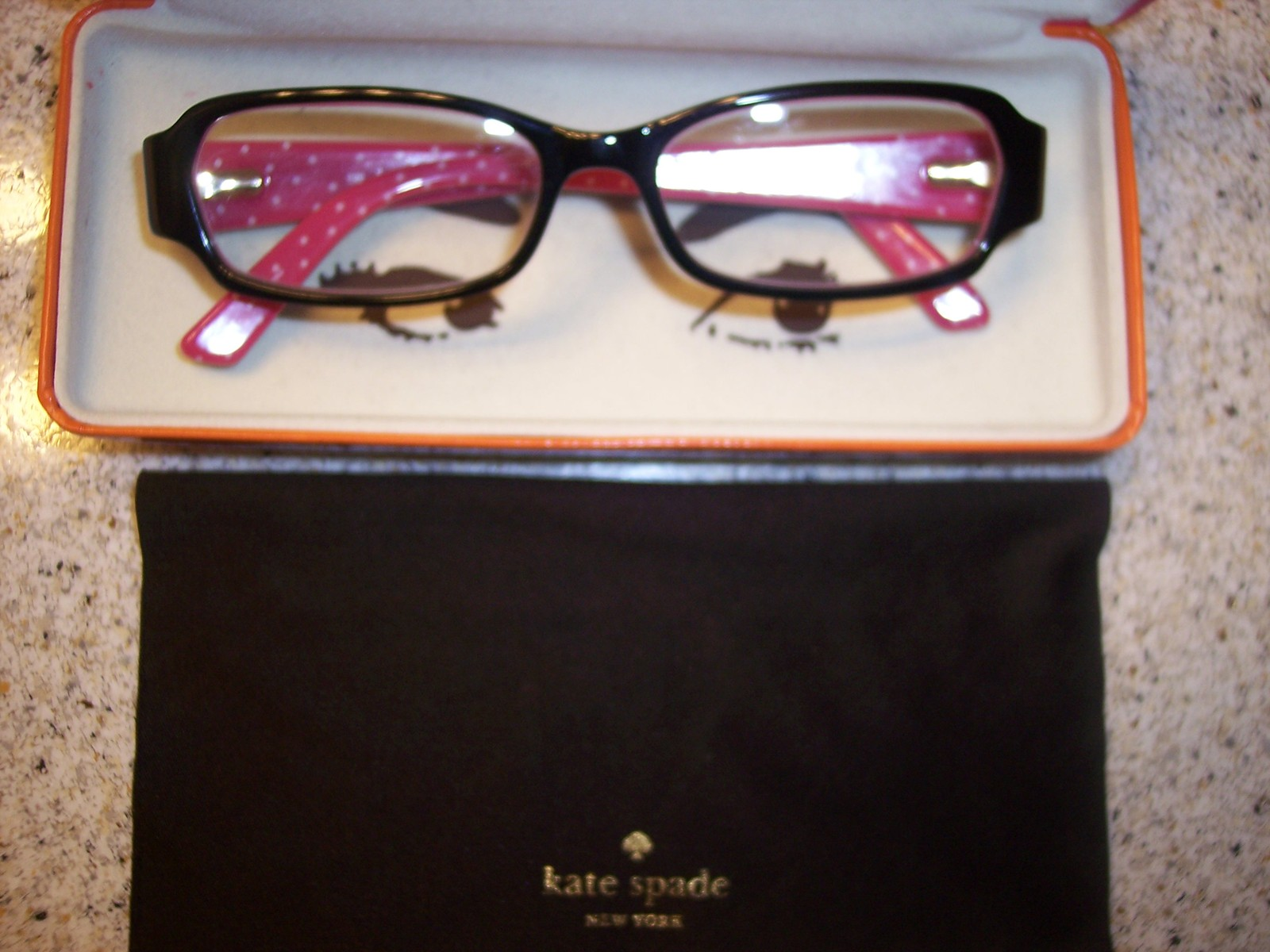 Kate Spade Reader Glasses with Case Brown Pink Polka Dots