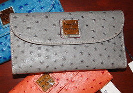 Dooney & Bourke Ostrich Checkbook Wallet Gray **LAST ONE**