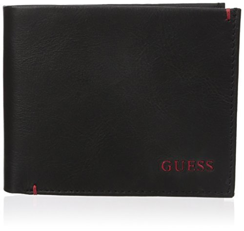 Guess Men's Julian Double Billfold Wallet, Black/Red, One Size
