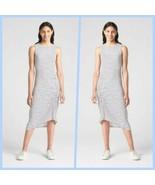 Gap Blue Stripe Sleeveless Crewneck Asymmetrical Ruched Midi Dress Size ... - $59.95