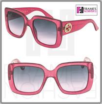 GUCCI 0141 Oversized Square Pink Glitter Gradient Sunglasses GG0141S 381... - $356.40