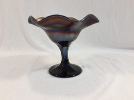"Vintage Blue Carnival Glass Iridescent Stemmed Flower Candy Dish 5.5"" Co... - $19.99"