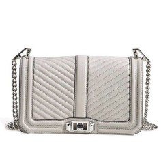 NWT Rebecca Minkoff CHEVRON LOVE Leather Crossbody Bag PUTTY GREY AUTHEN... - $208.00