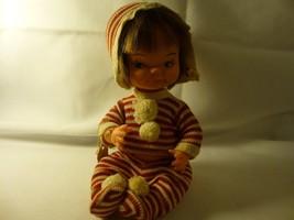 Vintage 50's Little Brown Hair Girl Red & White Outift Herman Pecker Dol... - $15.83