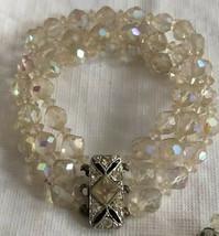 Vintage Bracelet Austrian Crystal Aurora Borealis  3 Strand Rhinestone C... - $44.59