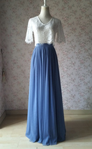 Women DUSTY BLUE Tulle Skirt Full Length Blue Bridesmaid Tulle Outfit Pe... - $48.99