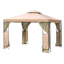 2-Tier 10' x 10'  Patio Steel Gazebo Canopy Shelter-Coffee - $220.07