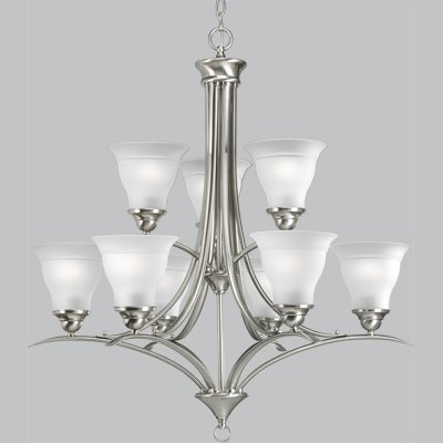 Primary image for Progress Lighting P4329-09 9-Light Trinity Chandelier, Brushed Nickel