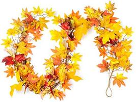 "CraftMore Lexington Fall Garland 72"" Mixed Autumn Leaves image 6"