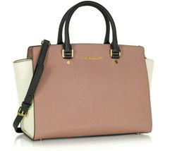 MICHAEL KORS SELMA ROSE PINK BLACK ECRU SAFFIANO LEATHER CROSSBODY SATCHEL*NWT image 4