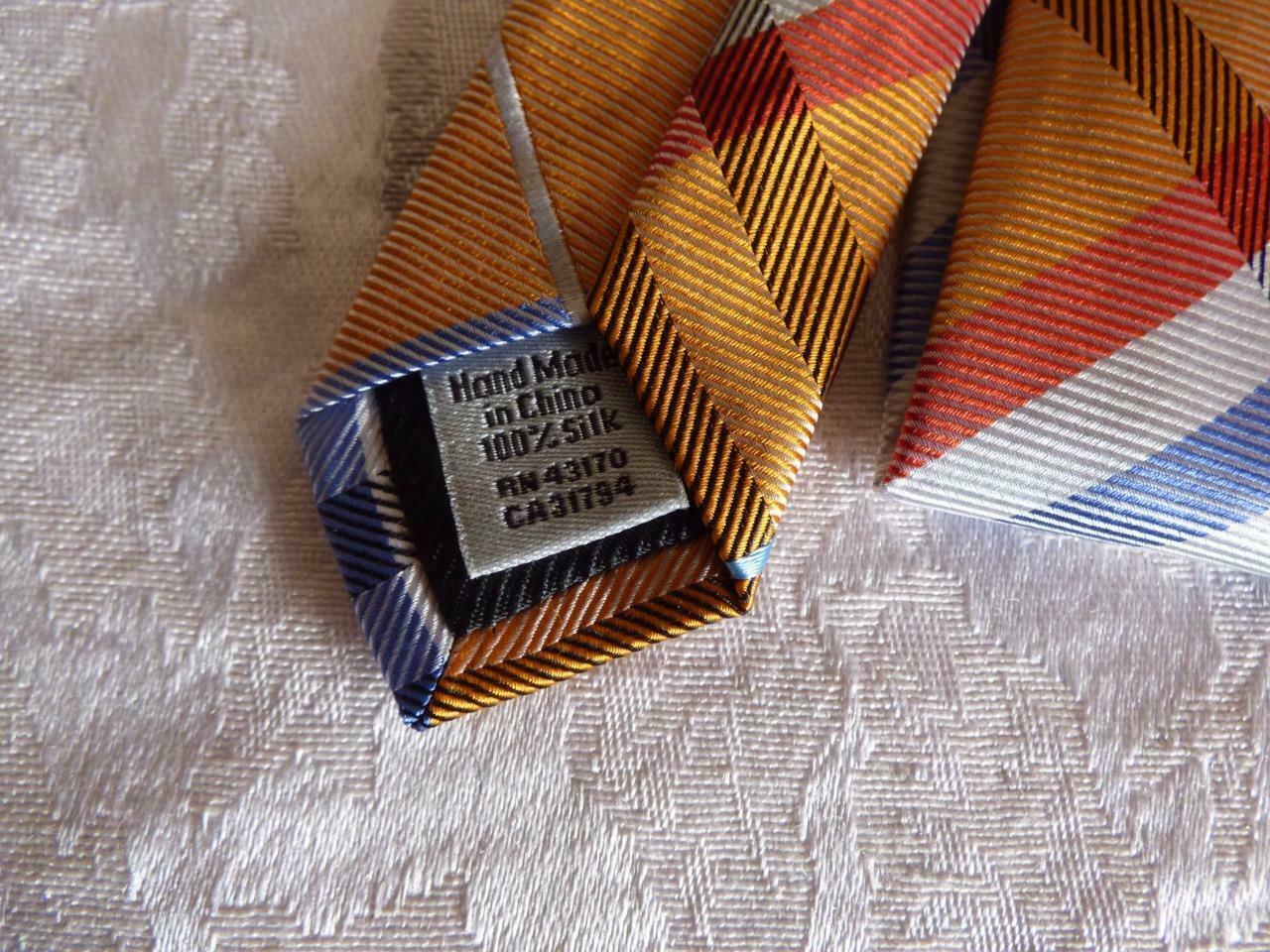 Geffrey Beene Pierre Plaid Brights Silk Necktie image 4