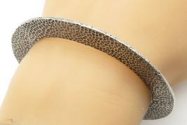 925 Sterling Silver - Vintage Hammered Flat C Shaped Cuff Bracelet - B6174 image 1