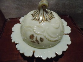 Antique Northwood Custard Glass LOUIS XV Butter Dish - $62.66