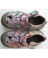 KEEN Pastel Striped Waterproof Sandals Girls Sz 2 Pull String Hook Loop ... - $23.22