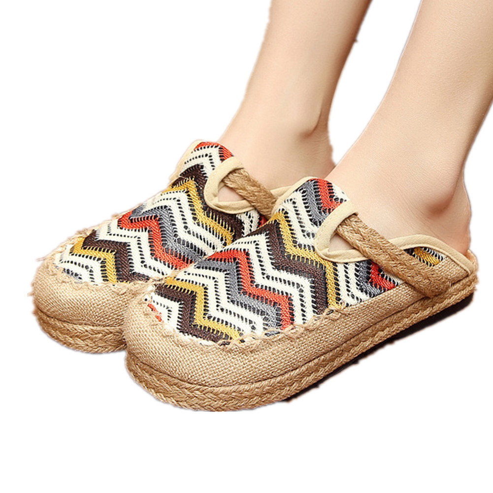 Primary image for Chinese Cotton and linen national wind Embroidy Shoes embroidered Slippers white