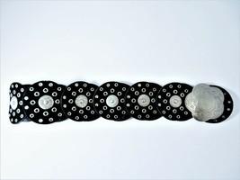 Wide Black Belt Riveted Disks Genuine Suede With PVC Backing Size Medium 35 - $24.65