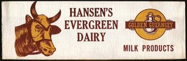 Vintage soda jerk hat HANSENS EVERGREEN DAIRY cow pictured Scottville Mi... - $6.99