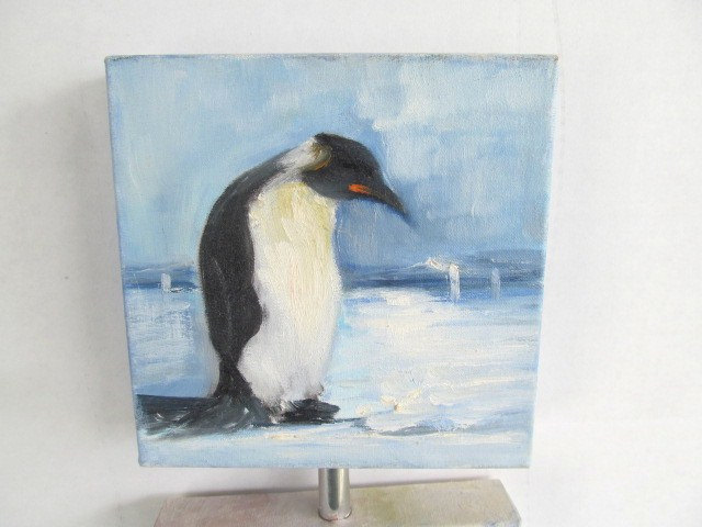 Original Penquins Canvas Acrylic Painting by Artist Claudete Hand Signed