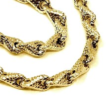 18K YELLOW GOLD NECKLACE CHAIN ROUNDED DIAMOND CUT INFINITY ALTERNATE DROP 7mm image 2