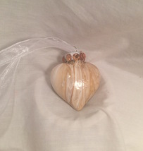 Gold and White Acrylic Pour Swirl Painted Glass Heart Ornamen Rhibestone... - $9.99