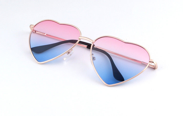Women Heart Shaped Sunglasses Metal Frame Reflective Lens Sun Protection Shades