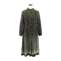 Black green floral BOUTIQUE LA MIENNE TOKYO long sleeve vintage dress 13 M - $59.99