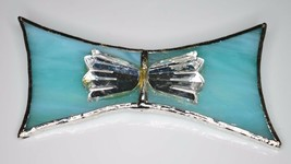 VTG Silver Tone Blue Stain Glass Art Glass Clear Tulip Flower Pin Brooch - $29.70