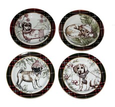 4 WEXFORD Dogs (4 Designs) Plaid Border 222 Fifth Appetizer Square Plates NWT - $27.99