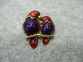 Vintage Enamel 2 Parrots On Branch Pin Brooch Purple Red Gold Unsigned - $9.99