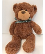 Teddy Bear Animal Adventure Brown Plush Green And White Checkered Bow 20... - $14.39