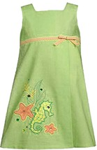 Bonnie Jean Little Girl 2T-6X Green Seahorse Applique A-line Cotton Dress