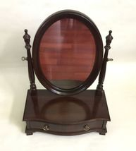 Vtg Ethan Allen Dark Wood Oval Mirror Jewelry Box Shaving Vanity Tabletop Drawer image 10