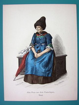 ITALY Costume Older Lady from Val Venosta Umbrella - 1880s Color Antique... - $9.44